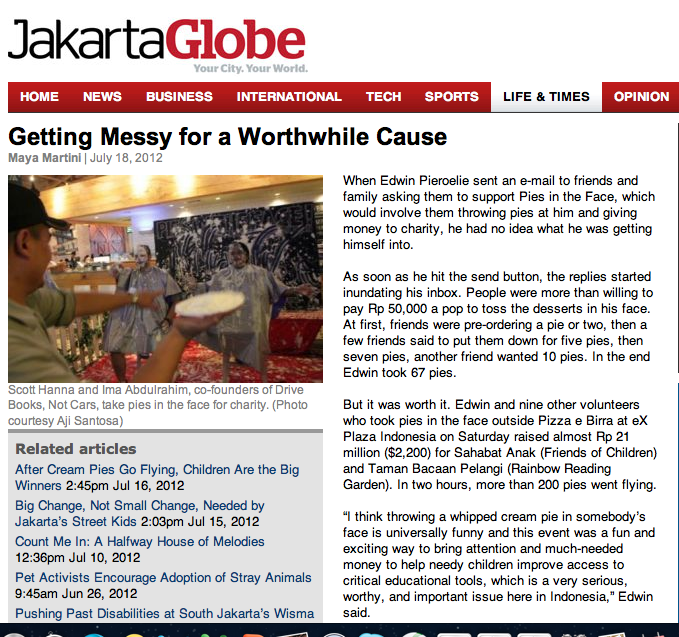 """Pies In The Face"" on The Jakarta Globe"