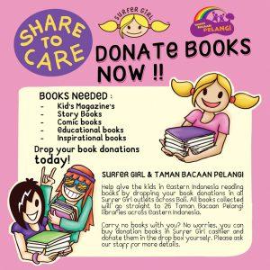 Book drive campaign Surfer Girl & Taman Bacaan Pelangi