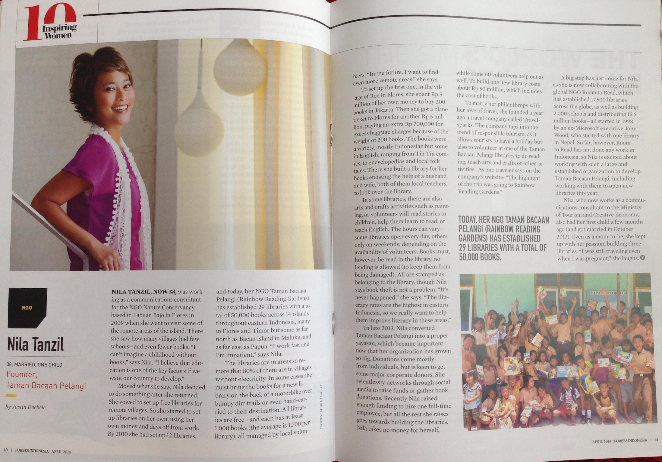 Forbes Indonesia's 10 Inspiring Women 2015. Nila Tanzil.