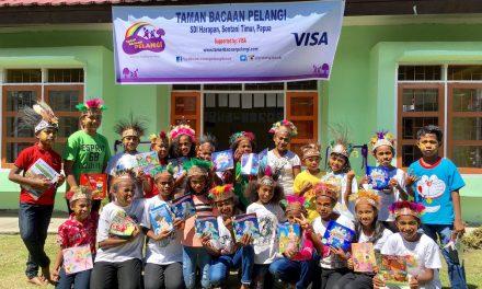Perpustakaan TB Pelangi ke-57 di SDI Harapan, Sentani, Papua Bekerjasama dengan VISA