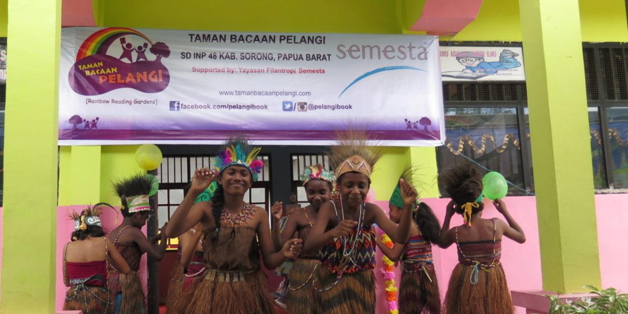 Peresmian Perpustakaan #TBPelangi ke-60 di SD Inpres 48 Kab. Sorong, Papua Barat
