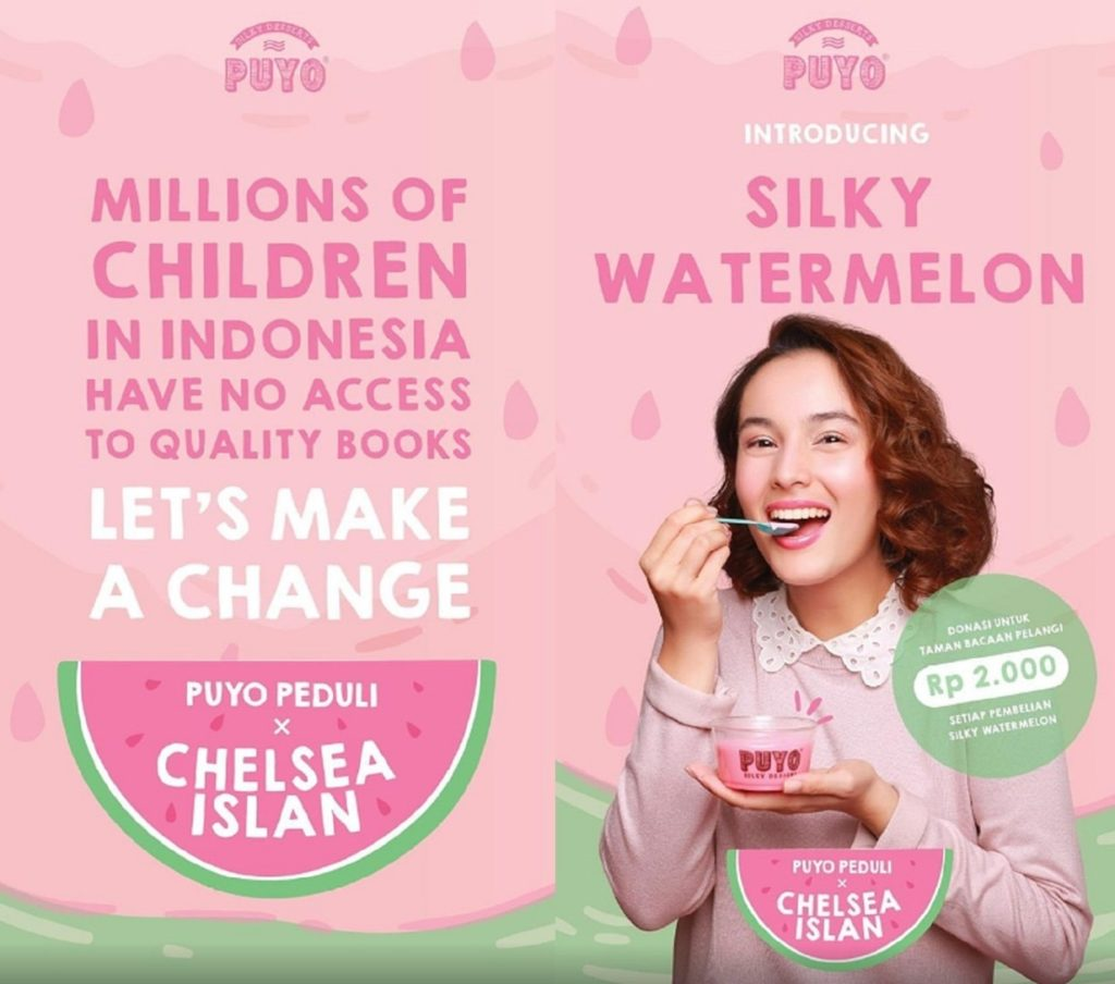 puyo desserts and chelsea islan raise funds for taman bacaan pelangi